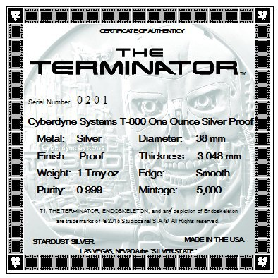 Stardust Silver - Terminator Certificate Of Authenticity